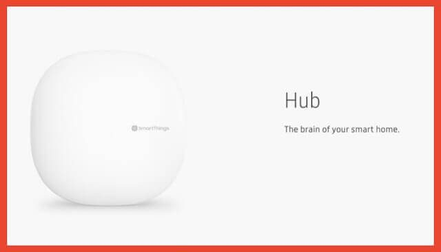 "A white Samsung smart hub, tagline, ""The brain of your smart home"""