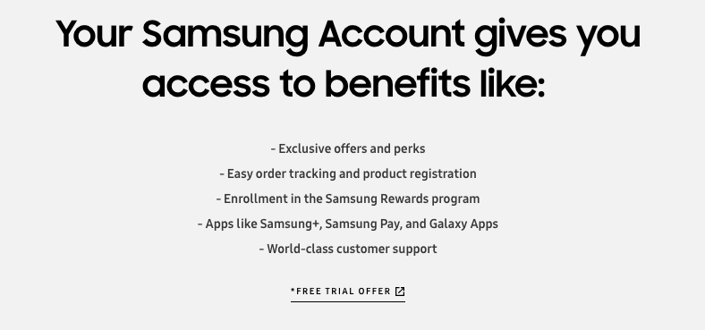 "A screenshot of ""Your Samsung Account gives you access to benefits like:"""