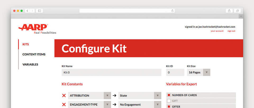 A screenshot of of the AARP website and how to configure a kit