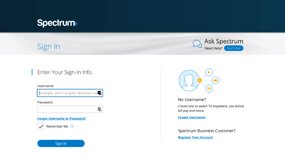 Spectrum.net email login page