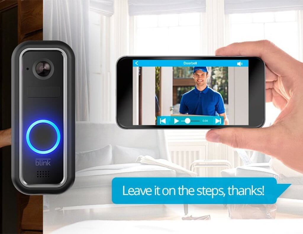 A smart doorbell with a hand holding a smartphone that shows the video that the video doorbell is capturing