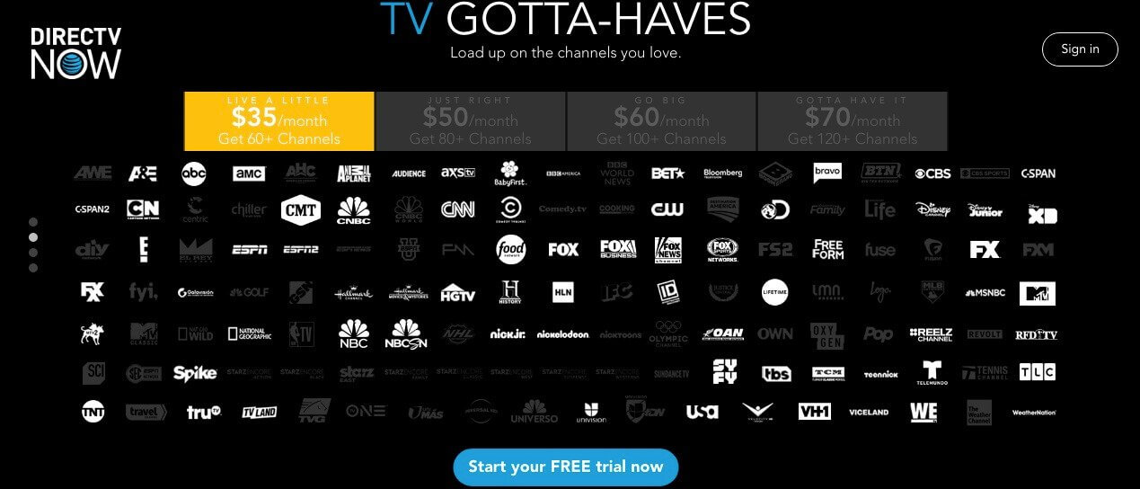 A screenshot of all the channels available through DirectTV Now