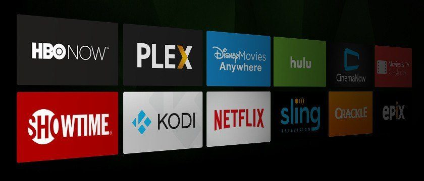 A screenshot of popular TV streaming apps like HBO NOW, Netflix, Showtime, Hulu, Sling, etc.