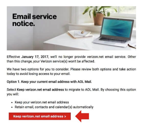 verizon.net email migration notification