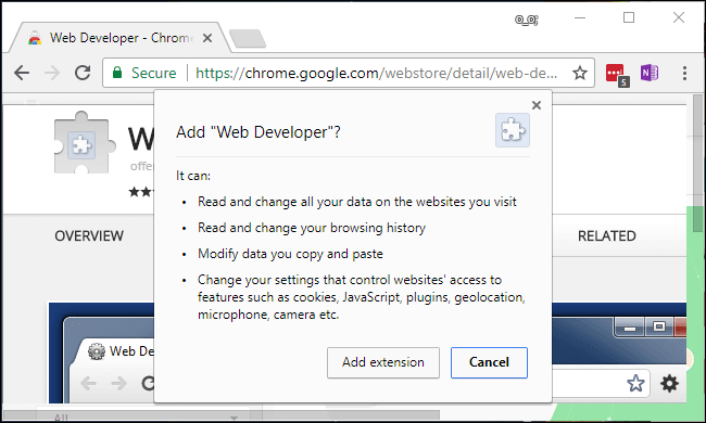 A screenshot of Chrome browser asking for permission to add a browser extension.
