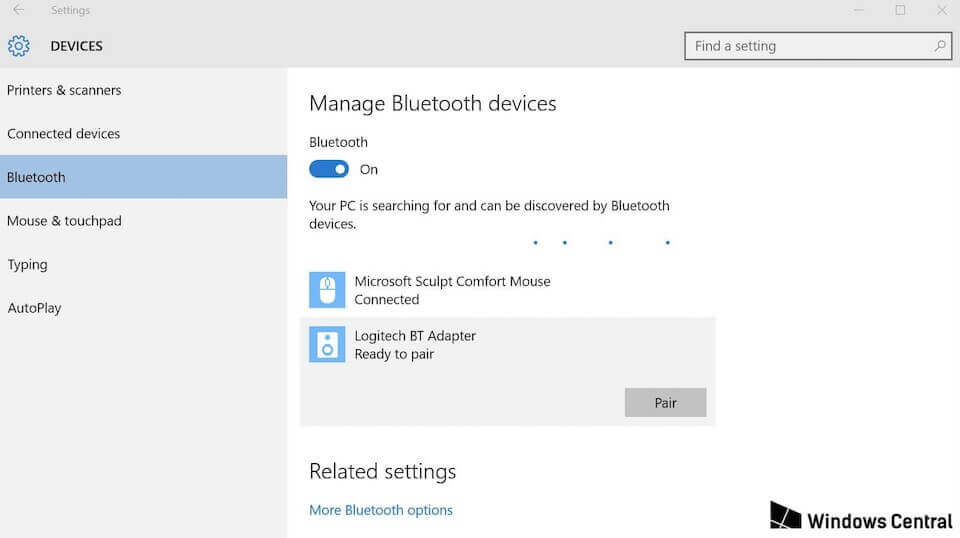 A screenshot of Bluetooth device settings in Windows 10