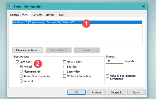 A screenshot of the System Configuration boot menu in Windows 10 safe mode