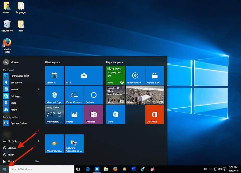 A screenshot of the Windows 10 start menu and what to click on in order to access the operating system settings