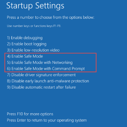 A screenshot of startup settings in Windows 10
