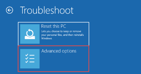 A screenshot of the options that show up with Windows 10 safe mode, troubleshoot settings