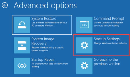 A screenshot of the options that show up with Windows 10 safe mode, advanced options settings