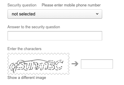 Yandex email security question