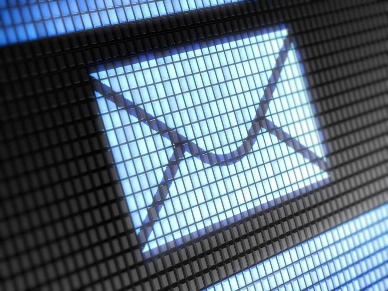 A screen with a large icon of an email