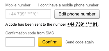 Yandex email mobile confirmation code
