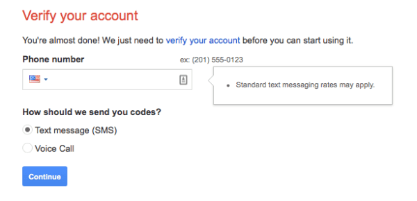 A screenshot of the Verify your account with Google, using a phone number