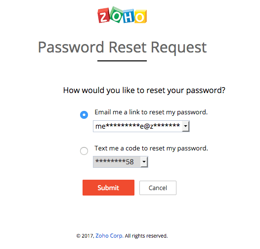 Zoho password reset verification method